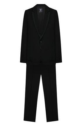 Детский шерстяной костюм DAL LAGO черного цвета, арт. N057M/1011/17/L-18/XL | Фото 1 (Материал подклада: Вискоза; Рукава: Длинные; Кросс-КТ: костюм; Материал внешний: Шерсть; Ростовка одежда: 16 лет | 164 см)