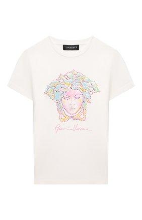 Детская хлопковая футболка VERSACE белого цвета, арт. 1000052/1A00060/8A-14A | Фото 1