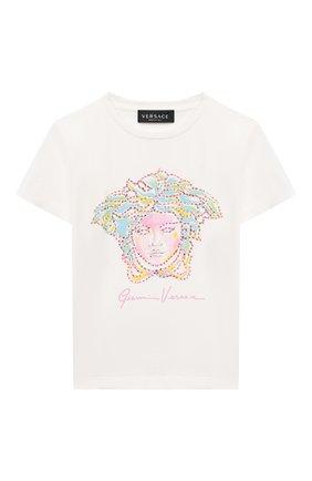 Детская хлопковая футболка VERSACE белого цвета, арт. 1000052/1A00060/4A-6A | Фото 1