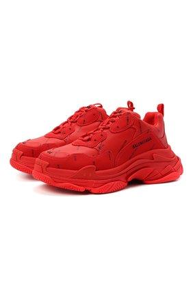 Мужские комбинированные кроссовки triple s BALENCIAGA красного цвета, арт. 536737/W2FA1 | Фото 1