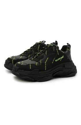 Мужские комбинированные кроссовки triple s BALENCIAGA черного цвета, арт. 536737/W2FA1 | Фото 1