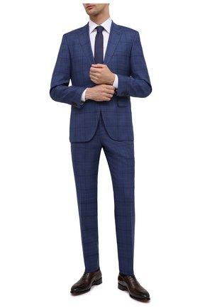 Мужской шерстяной костюм BOSS синего цвета, арт. 50450430 | Фото 1 (Рукава: Длинные; Материал внешний: Шерсть; Стили: Классический; Костюмы М: Однобортный)