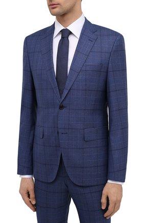 Мужской шерстяной костюм BOSS синего цвета, арт. 50450430 | Фото 2 (Рукава: Длинные; Материал внешний: Шерсть; Стили: Классический; Костюмы М: Однобортный)