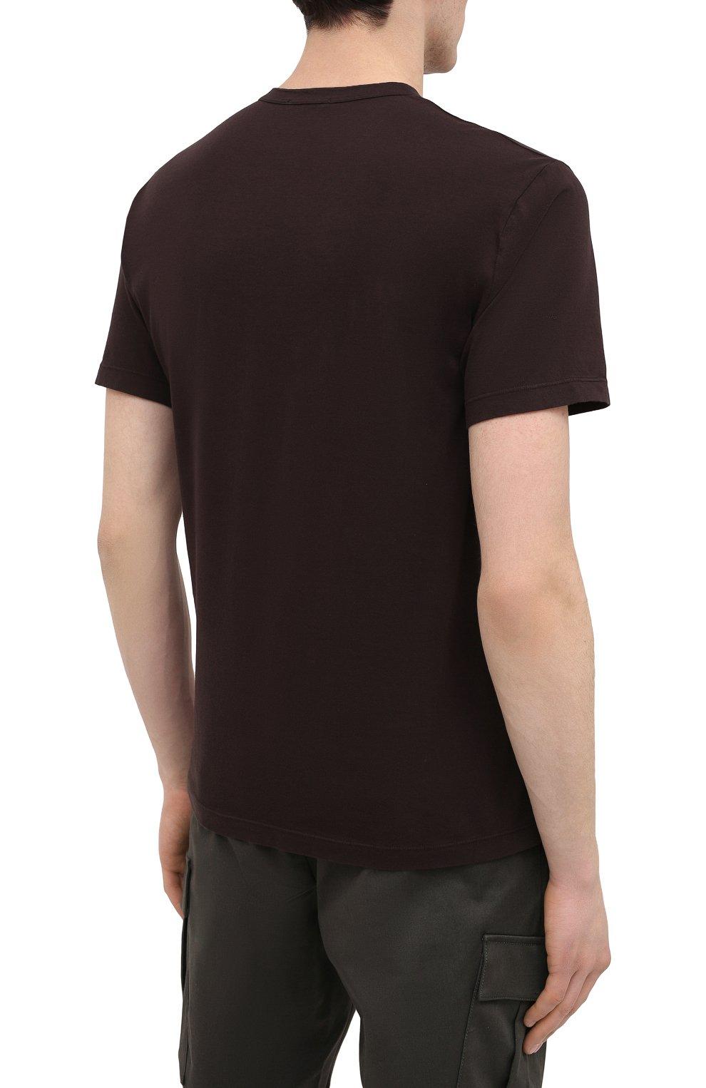 Мужская хлопковая футболка JAMES PERSE темно-коричневого цвета, арт. MLJ3311 | Фото 4