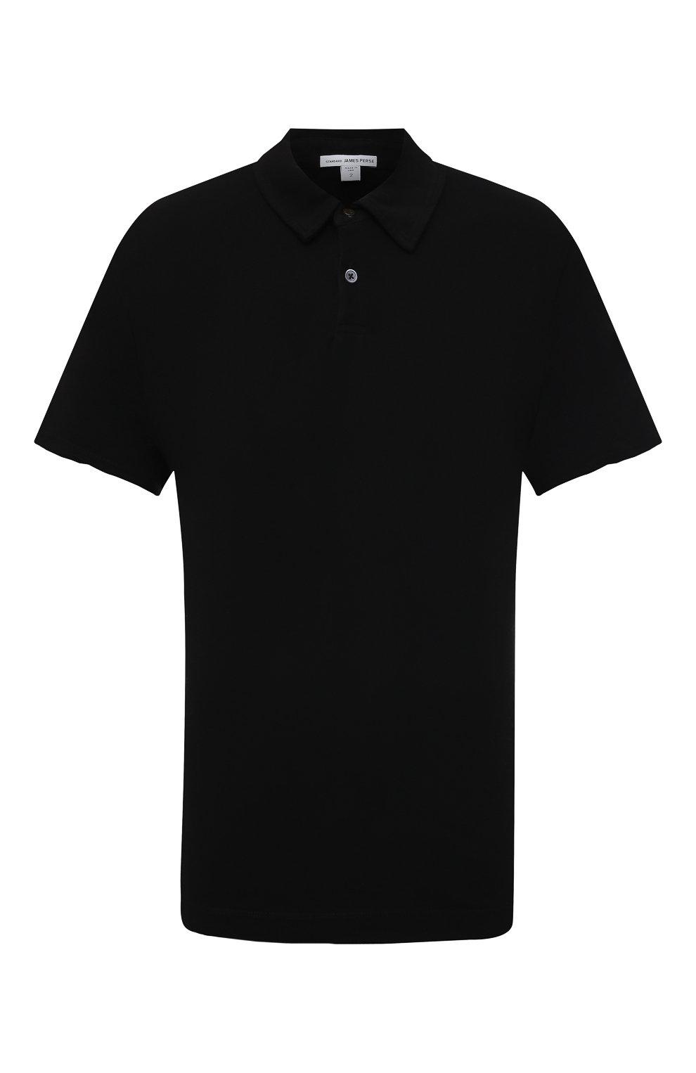 Мужское хлопковое поло JAMES PERSE черного цвета, арт. MDTS3379 | Фото 1 (Застежка: Пуговицы; Рукава: Короткие; Длина (для топов): Удлиненные; Материал внешний: Хлопок; Стили: Кэжуэл)