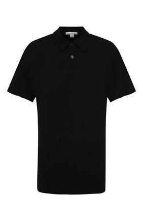 Мужское хлопковое поло JAMES PERSE черного цвета, арт. MDTS3379 | Фото 1 (Стили: Кэжуэл; Материал внешний: Хлопок; Рукава: Короткие; Застежка: Пуговицы; Длина (для топов): Удлиненные)
