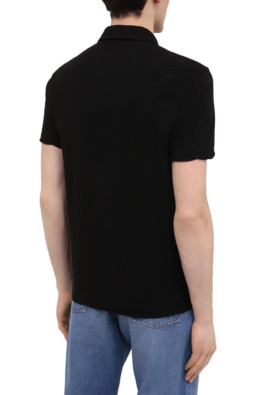 Мужское хлопковое поло JAMES PERSE черного цвета, арт. MDTS3379 | Фото 4 (Застежка: Пуговицы; Рукава: Короткие; Длина (для топов): Удлиненные; Материал внешний: Хлопок; Стили: Кэжуэл)