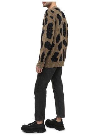 Мужские кожаные кроссовки ALEXANDER MCQUEEN черного цвета, арт. 627225/WHZ62 | Фото 2 (Подошва: Массивная; Материал внутренний: Натуральная кожа; Стили: Гранж)