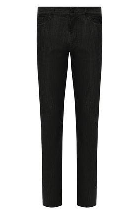 Мужские джинсы CANALI черного цвета, арт. 91722N/PY00671 | Фото 1 (Силуэт М (брюки): Прямые; Кросс-КТ: Деним; Материал внешний: Хлопок, Деним; Стили: Кэжуэл; Длина (брюки, джинсы): Стандартные)