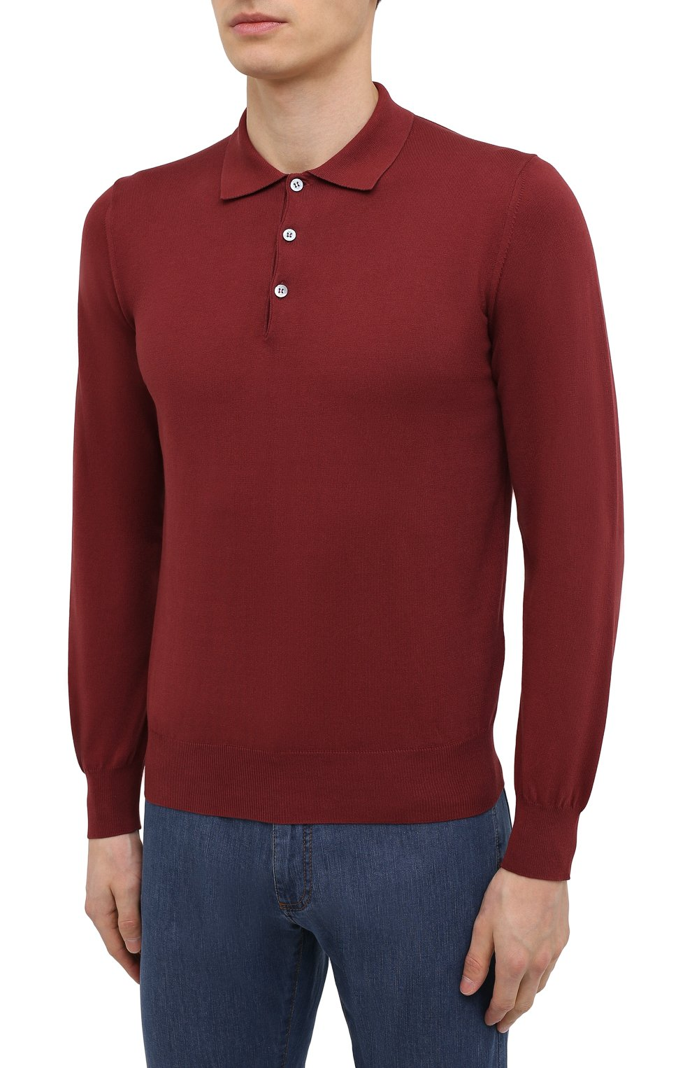 Мужское хлопковое поло CANALI бордового цвета, арт. C0017/MK00145 | Фото 3