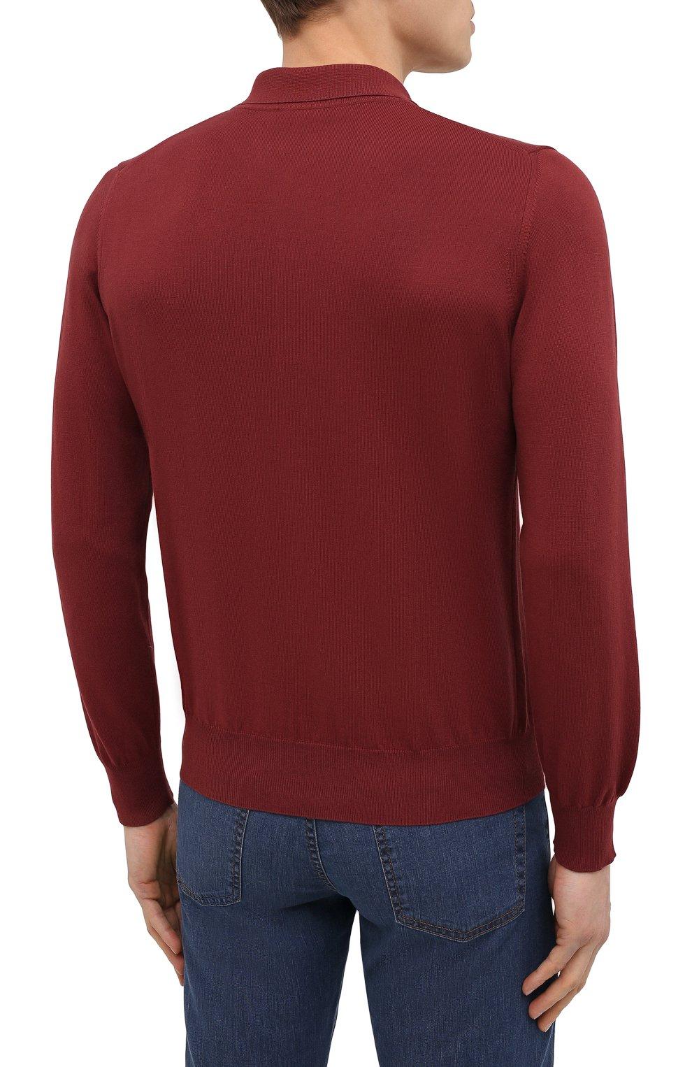 Мужское хлопковое поло CANALI бордового цвета, арт. C0017/MK00145 | Фото 4