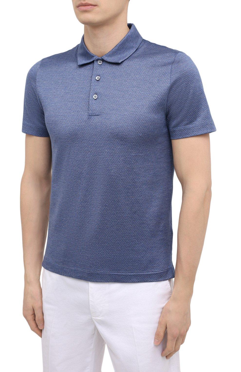 Мужское хлопковое поло CANALI синего цвета, арт. T0238/MJ01154 | Фото 3