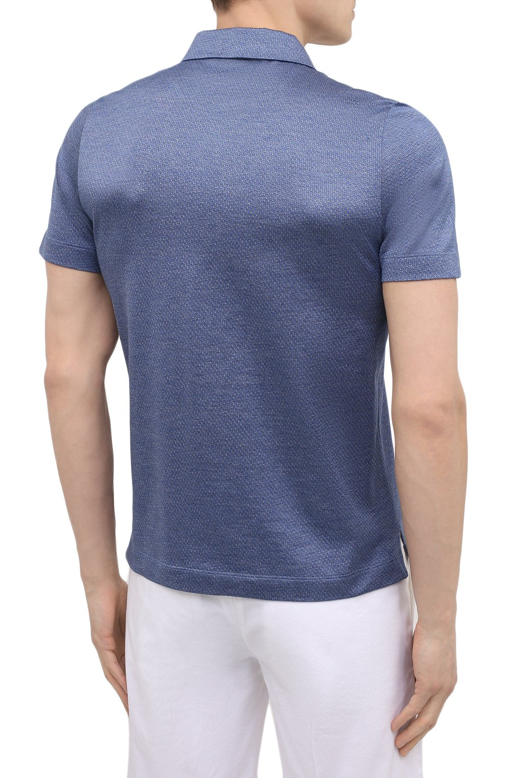 Мужское хлопковое поло CANALI синего цвета, арт. T0238/MJ01154 | Фото 4