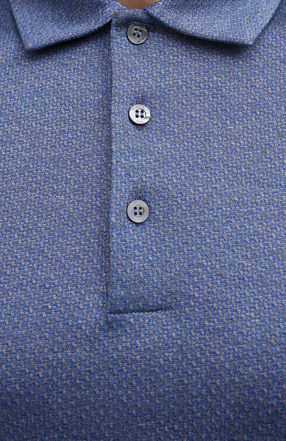 Мужское хлопковое поло CANALI синего цвета, арт. T0238/MJ01154 | Фото 5