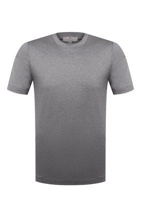 Мужская хлопковая футболка CANALI серого цвета, арт. T0356/MJ00002 | Фото 1 (Принт: Без принта; Длина (для топов): Стандартные; Стили: Кэжуэл; Рукава: Короткие; Материал внешний: Хлопок)