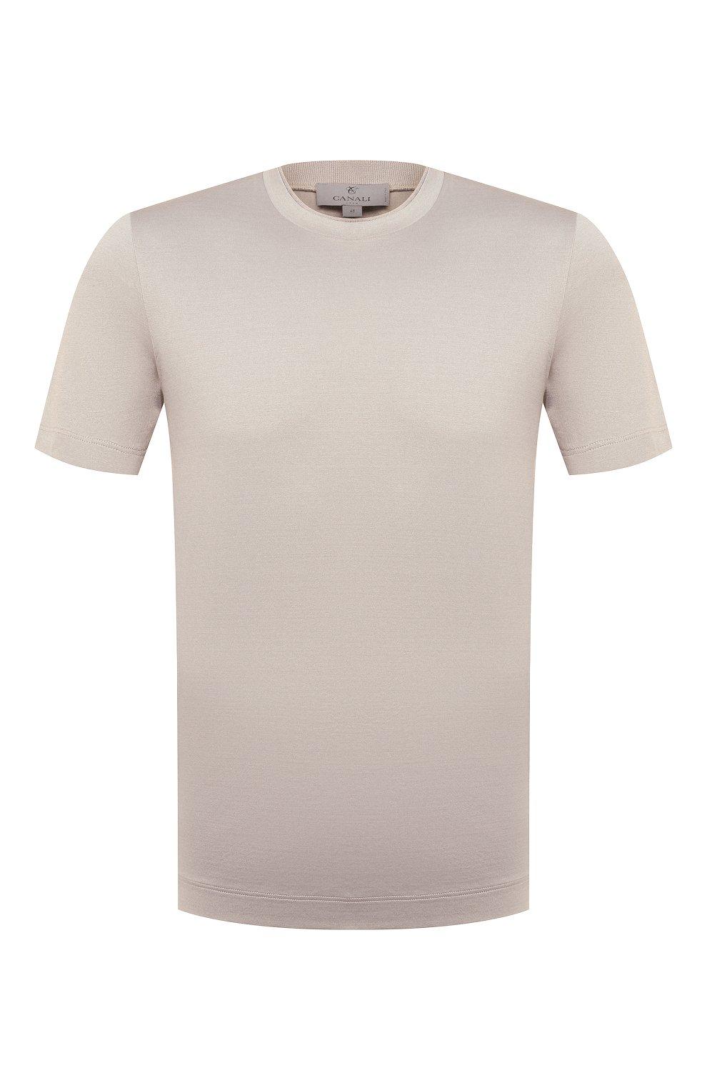 Мужская хлопковая футболка CANALI светло-бежевого цвета, арт. T0356/MJ00002   Фото 1