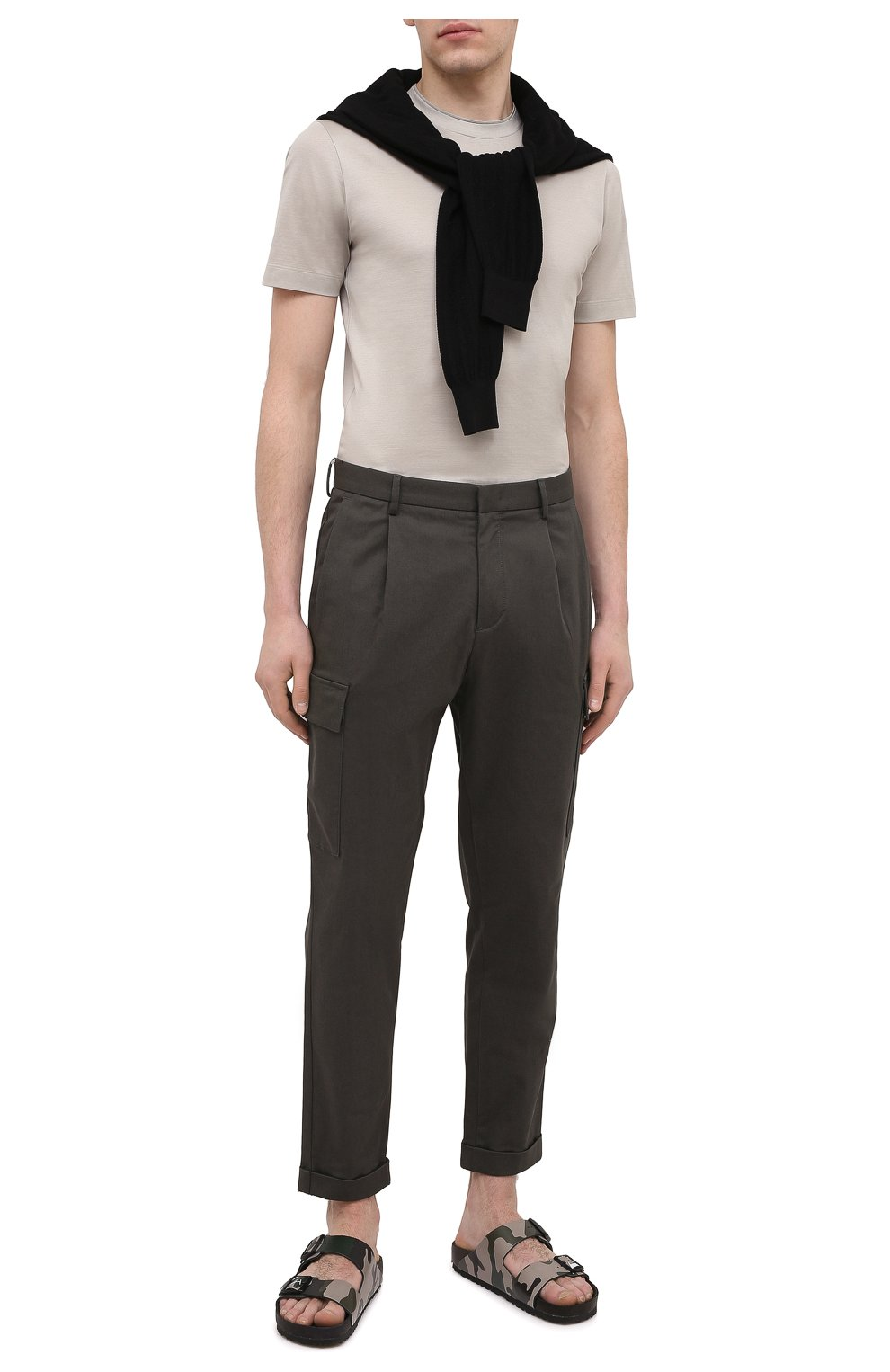 Мужская хлопковая футболка CANALI светло-бежевого цвета, арт. T0356/MJ00002   Фото 2