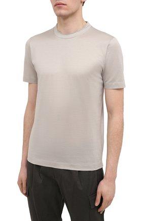 Мужская хлопковая футболка CANALI светло-бежевого цвета, арт. T0356/MJ00002   Фото 3