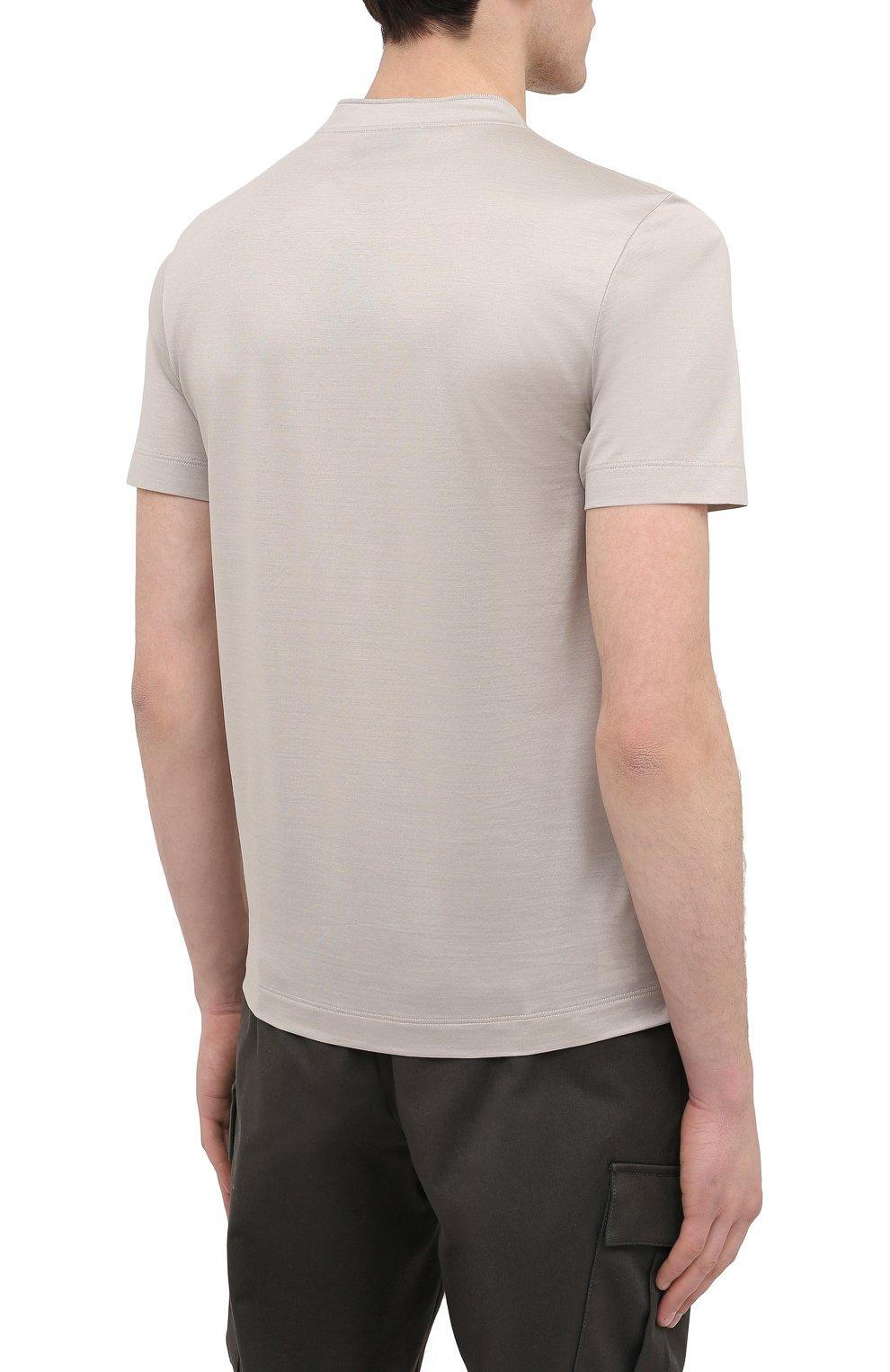 Мужская хлопковая футболка CANALI светло-бежевого цвета, арт. T0356/MJ00002   Фото 4