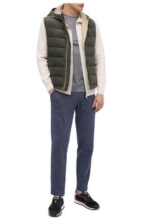 Мужские хлопковые брюки CANALI темно-синего цвета, арт. T0656/MJ01159 | Фото 2 (Мужское Кросс-КТ: Брюки-трикотаж; Длина (брюки, джинсы): Стандартные; Случай: Повседневный; Материал внешний: Хлопок; Стили: Спорт-шик)