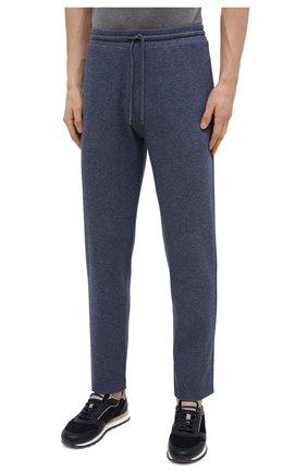 Мужские хлопковые брюки CANALI темно-синего цвета, арт. T0656/MJ01159 | Фото 3 (Мужское Кросс-КТ: Брюки-трикотаж; Длина (брюки, джинсы): Стандартные; Случай: Повседневный; Материал внешний: Хлопок; Стили: Спорт-шик)