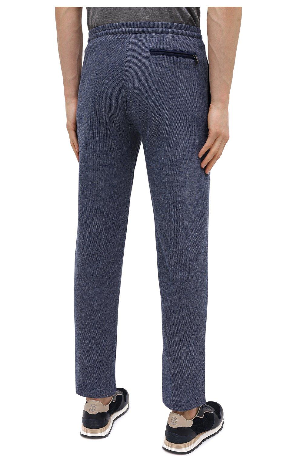 Мужские хлопковые брюки CANALI темно-синего цвета, арт. T0656/MJ01159 | Фото 4 (Мужское Кросс-КТ: Брюки-трикотаж; Длина (брюки, джинсы): Стандартные; Случай: Повседневный; Материал внешний: Хлопок; Стили: Спорт-шик)