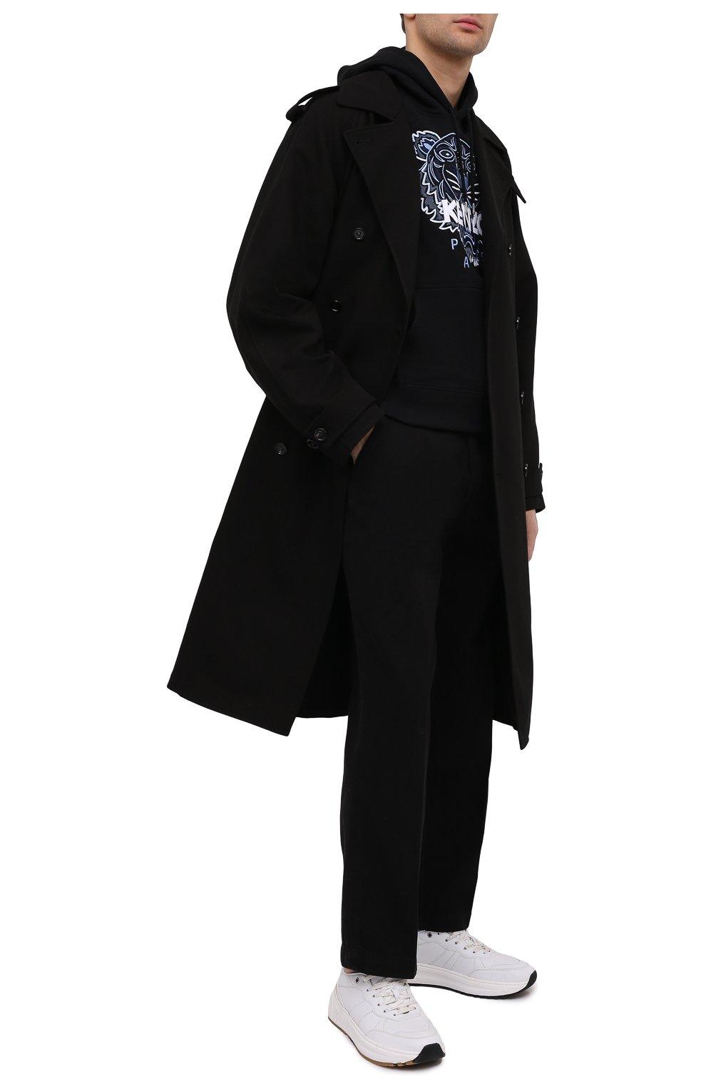 Мужские хлопковые брюки KENZO черного цвета, арт. FB55PA2555AA | Фото 2 (Длина (брюки, джинсы): Стандартные; Случай: Повседневный; Материал внешний: Хлопок; Стили: Кэжуэл)
