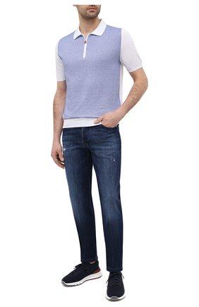 Мужское хлопковое поло KITON голубого цвета, арт. UK1253 | Фото 2