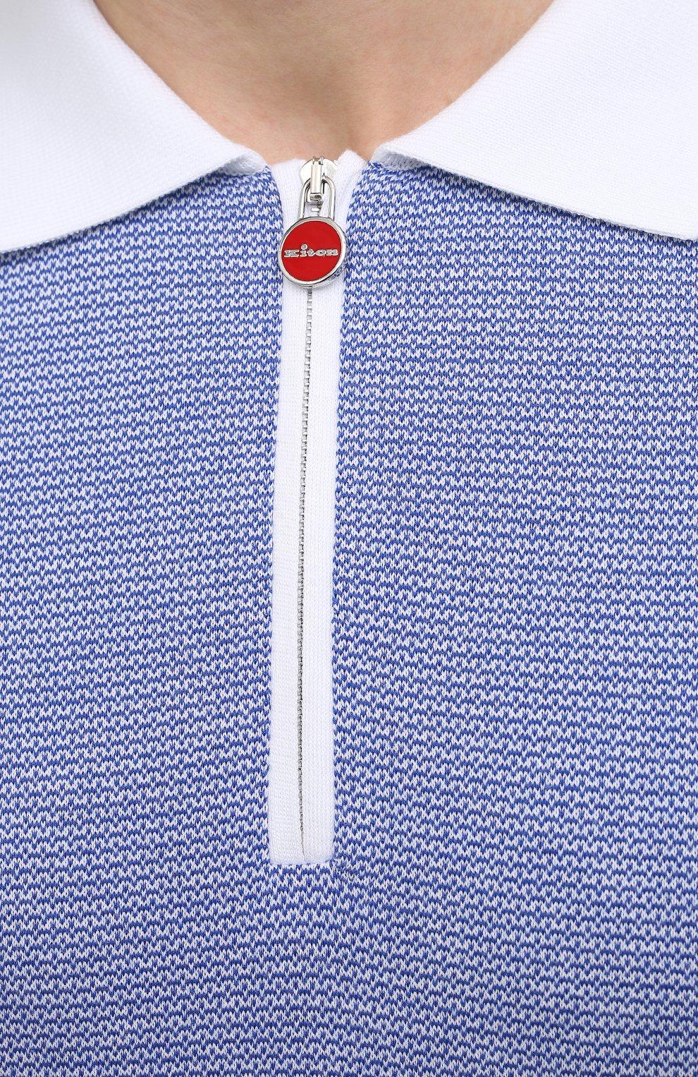 Мужское хлопковое поло KITON голубого цвета, арт. UK1253   Фото 5
