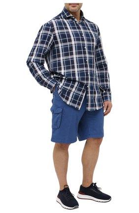 Мужские шорты из хлопка и шелка KITON синего цвета, арт. UFPPBJ07T42/44-52 | Фото 2