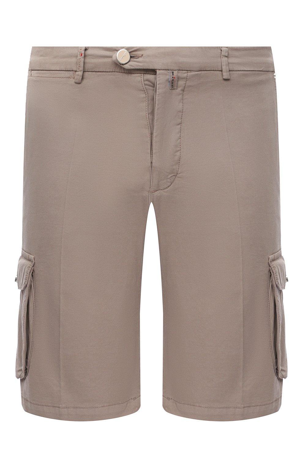 Мужские шорты из хлопка и шелка KITON темно-бежевого цвета, арт. UFPPBJ07T42/44-52 | Фото 1 (Big sizes: Big Sizes; Мужское Кросс-КТ: Шорты-одежда; Принт: Без принта; Длина Шорты М: Ниже колена; Материал внешний: Хлопок; Стили: Кэжуэл)