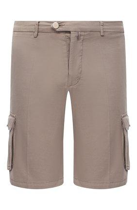 Мужские шорты из хлопка и шелка KITON темно-бежевого цвета, арт. UFPPBJ07T42/44-52 | Фото 1