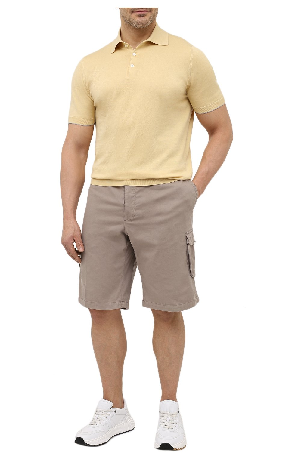 Мужские шорты из хлопка и шелка KITON темно-бежевого цвета, арт. UFPPBJ07T42/44-52 | Фото 2 (Big sizes: Big Sizes; Мужское Кросс-КТ: Шорты-одежда; Принт: Без принта; Длина Шорты М: Ниже колена; Материал внешний: Хлопок; Стили: Кэжуэл)