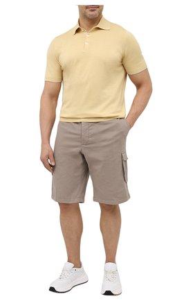Мужские шорты из хлопка и шелка KITON темно-бежевого цвета, арт. UFPPBJ07T42/44-52 | Фото 2