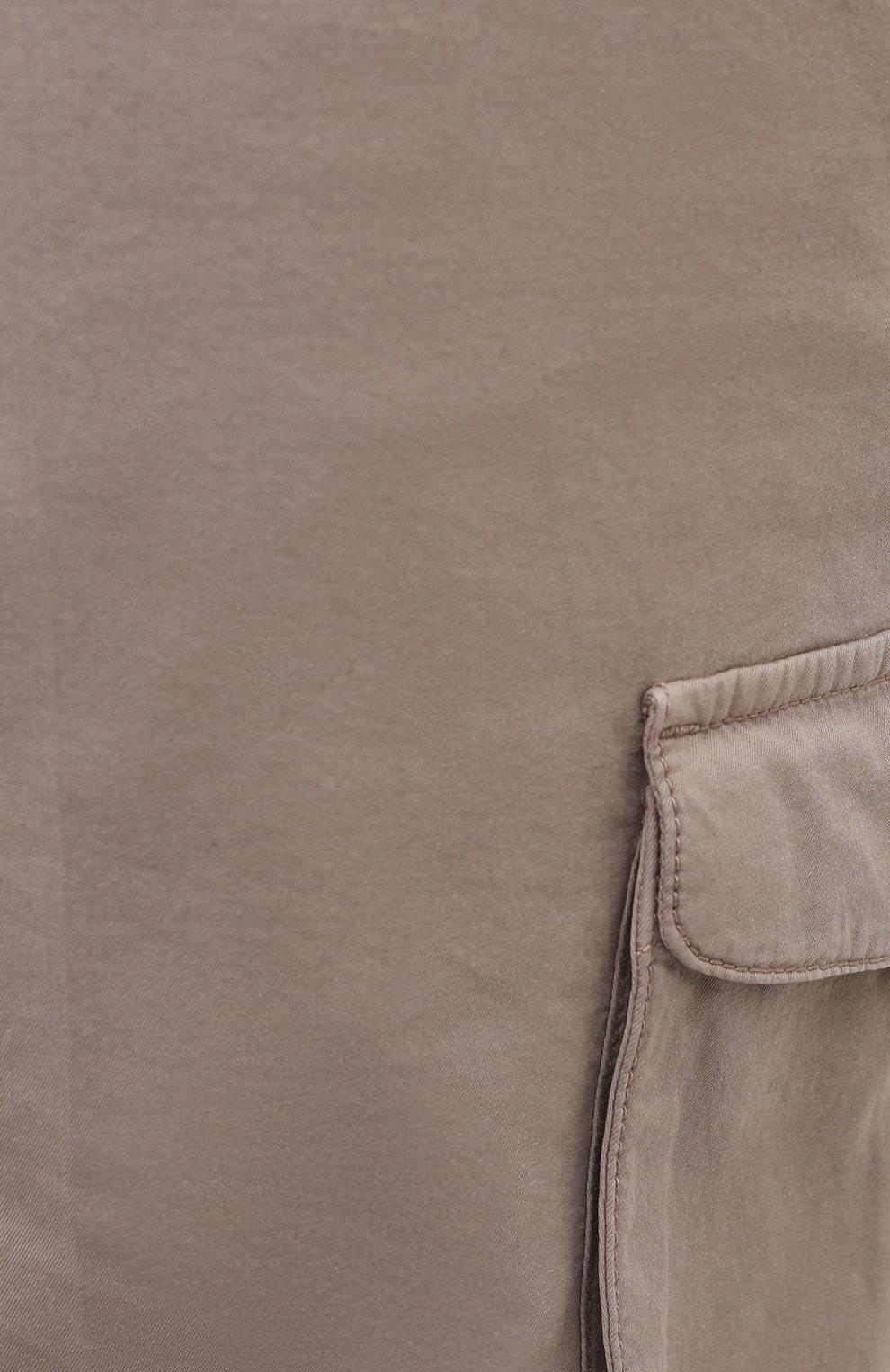 Мужские шорты из хлопка и шелка KITON темно-бежевого цвета, арт. UFPPBJ07T42/44-52 | Фото 5 (Big sizes: Big Sizes; Мужское Кросс-КТ: Шорты-одежда; Принт: Без принта; Длина Шорты М: Ниже колена; Материал внешний: Хлопок; Стили: Кэжуэл)