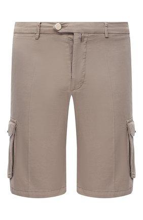 Мужские шорты из хлопка и шелка KITON темно-бежевого цвета, арт. UFPPBJ07T42 | Фото 1