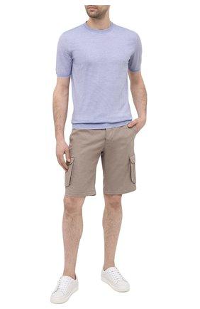 Мужские шорты из хлопка и шелка KITON темно-бежевого цвета, арт. UFPPBJ07T42 | Фото 2