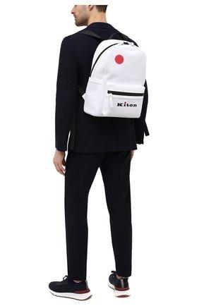 Мужской текстильный рюкзак KITON белого цвета, арт. UBFITKN00820 | Фото 2