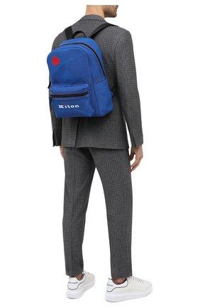 Мужской текстильный рюкзак KITON синего цвета, арт. UBFITKN00820 | Фото 2