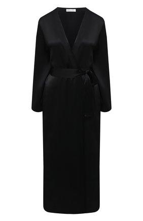 Женский шелковый халат LUNA DI SETA черного цвета, арт. VLST60539 | Фото 1