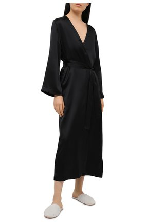 Женский шелковый халат LUNA DI SETA черного цвета, арт. VLST60539 | Фото 2