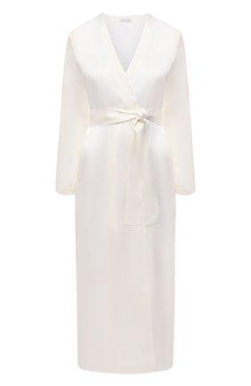 Женский шелковый халат LUNA DI SETA белого цвета, арт. VLST60539 | Фото 1