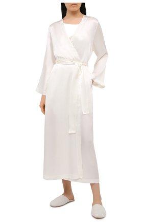 Женский шелковый халат LUNA DI SETA белого цвета, арт. VLST60539 | Фото 2
