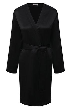 Женский шелковый халат LUNA DI SETA черного цвета, арт. VLST08009 | Фото 1
