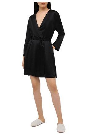 Женский шелковый халат LUNA DI SETA черного цвета, арт. VLST08009 | Фото 2