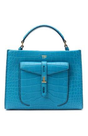 Женская сумка t twist small из кожи аллигатора TOM FORD синего цвета, арт. L1203T-EAL001/AMIS | Фото 1 (Сумки-технические: Сумки top-handle, Сумки через плечо; Ремень/цепочка: На ремешке; Размер: small)