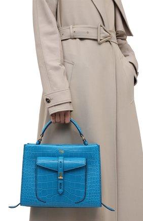 Женская сумка t twist small из кожи аллигатора TOM FORD синего цвета, арт. L1203T-EAL001/AMIS | Фото 2 (Сумки-технические: Сумки top-handle, Сумки через плечо; Ремень/цепочка: На ремешке; Размер: small)