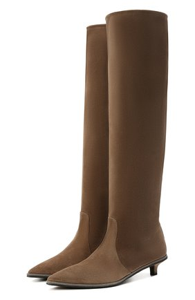 Женские замшевые сапоги BRUNELLO CUCINELLI коричневого цвета, арт. MZSFC1743 | Фото 1 (Высота голенища: Высокие; Подошва: Плоская; Каблук тип: Kitten heel; Материал внутренний: Натуральная кожа; Каблук высота: Низкий; Материал внешний: Замша)