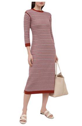 Женское платье из шелка и хлопка LORO PIANA красного цвета, арт. FAL5240 | Фото 2 (Случай: Повседневный; Материал внешний: Шелк, Хлопок; Рукава: 3/4; Длина Ж (юбки, платья, шорты): Миди; Женское Кросс-КТ: Платье-одежда; Стили: Кэжуэл)