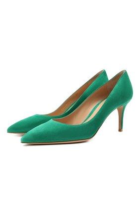 Женские замшевые туфли gianvito 70 GIANVITO ROSSI зеленого цвета, арт. G26770.70RIC.CAMEMER | Фото 1